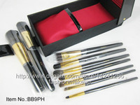 9 Pieces brush set  1set top quality 9pcs Professional brand Makeup Brush sets ,Cosmetic Tool Kits + PU Hard boxed, with brand BB Logo,drop ship Free Shipping