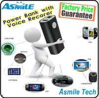 Wholesale black mAh Portable Mobile power bank with voice recorder