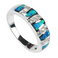 opal - Trendy Blue opal Romantic cute SILVER Plated RING R113 SZ