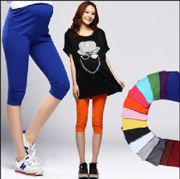 Wholesale Pregnant Maternity Leggings Cropped Leggings Modal Casual Pants For Pregnant Women New Fashion Summer Spring Candy Colors Leggings