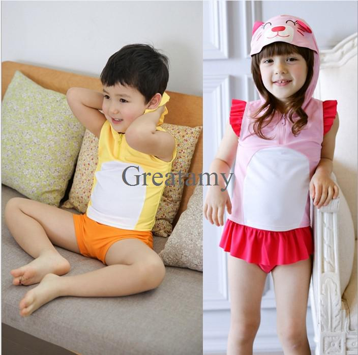 2017 2014 New Style Baby Girl Boy Hooded Swimwear Cartoon ...