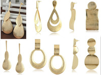 Dangle & Chandelier big earrings - pairs NEW arrival European and American Fashion Jewelry Simple K Gold Plated metal Big Drop Earrings