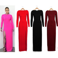 Street Style Crew Neck Long Sleeve Sexy Celeb Prom Dress Bodycon Split Leg Solid Color Long Sleeve Thin Hip Fashion Bandage Celebrity Dresses CA054 Free Shipping