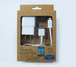 Wholesale 2 in Kit EU US Plug AC Power Home Wall Charger micro USB Data Sync Cable For Samsung Galaxy S4 i9500 I9300 I9100 with retail package