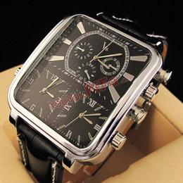 V6 Military Brand Men's Multi-Movement New Stylish Quartz Wrist Sports Watch with Black PU Leather Band