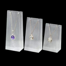 Wholesale High Grade Acrylic Display Stand Earring Rack Pendant Necklace Holder Triangle Block three piece