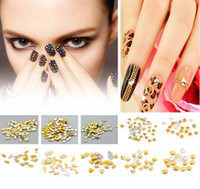 Wholesale MIn Order Gold Plated Metallic Nail Art Decoration Studs Tips