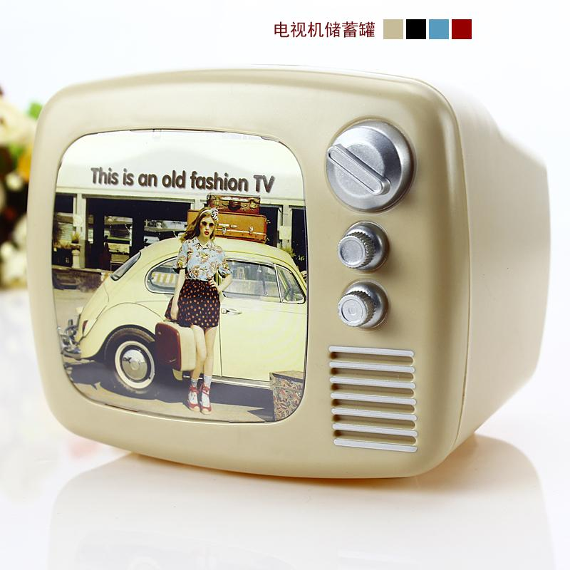 birthday gift vintage tv machine piggy bank large plastic. Black Bedroom Furniture Sets. Home Design Ideas