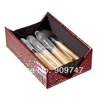 5 Pieces Face Powder Brushes Goat Hair Wholesale - 2013 new !! HOT,Professional 24 make up Brush tools Make up Toiletry Kit Wool Brand Makeup Brush Set with top bamboo box