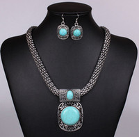 Wholesale Fashion Round Turquoise Stonel Vintage Jewelry set chunky jewelry Choker necklace earring set For women jewelry