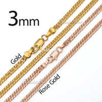 Wholesale mm Curb Cuban18K Yellow Rose Gold Filled Necklace Chain Men Women chain Unique Jewelry bulk GN151