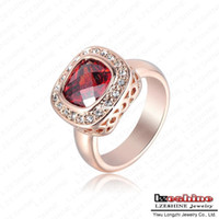 Wholesale LZESHINE Brand Ruby Diamond Retro Noble Ladies Rings Real K Rose Gold Plated Elegant Simulated Ring Jewelry ITL RI0104