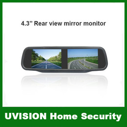 Wholesale 4 inch TFT LCD Car Rear View Mirror Monitor Dual video input for rear view camera and DVD