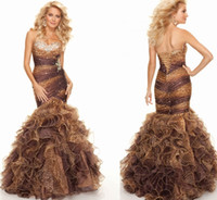 Wholesale 2014 Sexy leopard print Tiered Organza Mermaid Prom dresses with Crystal Beadings Sweetheart Long