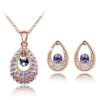 Wholesale Christmas Big Sale k Rose Gold Plated Fashion Peacock Eye Jewelry Sets SWA Element Austrian Crystal Necklace Earring Set