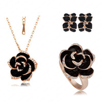Wholesale Best Seller Jewelry Set Rose Gold Plated Austrian Crystal Enamel Earring Necklace Ring Flower Set Choose Size of Ring ITL ST0033