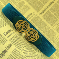 Wholesale Rose Flower Hollow Out Gold Buckle Belts Elastic Waist Belt For Women Wide Belt Cummerbund Coat Belt Straps Designer Retail