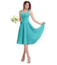 A-line Straps Knee-length Chiffon Bridesmaid Wedding Party Dress