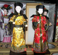 ECO Friendly oriental statues - Oriental Broider Doll Pair China Rare style figurine Qing emperor empress statue