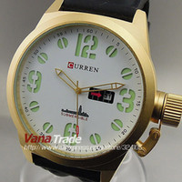 Men's Round 27 2014 NEW CURREN QUARTZ JAPAN QUARTZ MOVEMENT WATCHES HOUR DIAL WHITE GOLDEN CLOCK SPORT MEN WRIST WATCH DROPSHIP