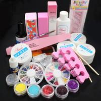 UV Gel Nail Art Set Yes  Free Shipping Pro Full Acrylic Glitter Powder Glue French Nail Art UV Gel Tip Kit Set