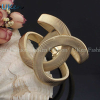 Wholesale New Designer CC Jewelry Elegent Gold and Silver Color Alloy Wide With Spring Cuff Bracelet Bangles BL131