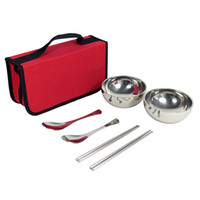 Wholesale new arrival outdoor picnic tableware a whole set for persons easy to carry practical Outdoor Stainless Steel bowl Quality assurance Z1003