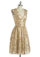 Wholesale Gold Bridesmaid Dress Polyester Sequins V Neck Keyhole Back Party Gown