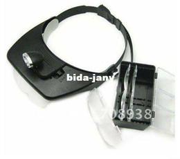 Wholesale 4 lenses LED Head Light Headlamp Magnifying Glass Head Magnifier amp