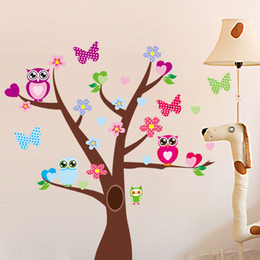 Wholesale Large Tree Wall Stickers Owls Butterflies Cartoon Peel And Stick Nursery Wall Decals Stickers
