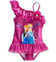 Wholesale 2014 Summer Children Frozen Princess Anna Elsa Tiered Lace Rhinestone Gallus Swimwears Children Girls Cute Rose Cartoon Swimsuit B3225