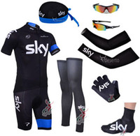 Wholesale team sky cycling jerseys short sleeve bib sets amp arms amp gloves amp legs amp caps amp Shoes covers amp cycling sunglasses