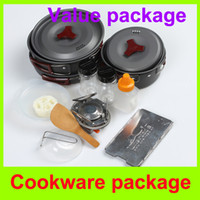 Wholesale 2014 new Value Package Military Camping picnic Cookware outdoor cookware package Pot Portable camping stove bowls deflector spice bottles