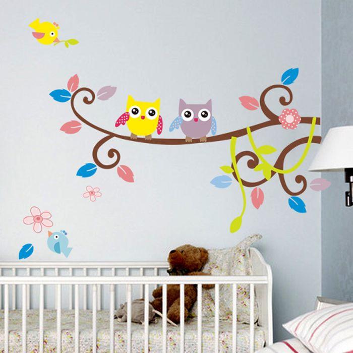 Owl Wall Stickers For Kids Room Decor Nursery Cartoon Wall
