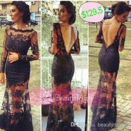 Wholesale 2014 Hot sale black lace formal evening prom dresses with long sleeves bateau backless floor length sheath celebrity dresses BO3423