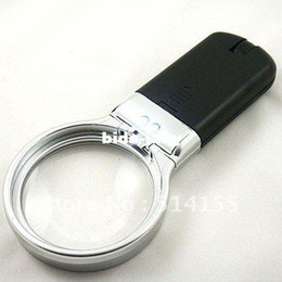 Wholesale TH in Exclamation Mark Type Hand hold folding Magnifier With Two LED lights Loupe