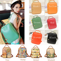 Wholesale 2014 Fashion Print Backpack Women Girl Cute Cartoon Backpack Small Female PU Backpack School Bag Preppy Style Bag Women H10256 H10258