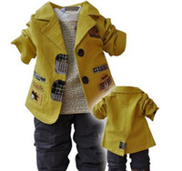 Boy Summer Children 2013 New arrival children's Clothing Sets cotton coat+T-shirt+pants baby boy kid three piece sets Freeshiping,