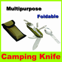 Wholesale 2014 NEW Picnic Set Tableware Stainless Steel can be separately and removed portable multifunction folding blade knife camping knife