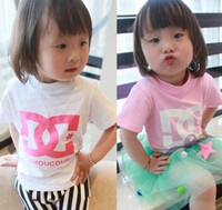 Girl Summer Standard Summer Baby Cute Kids Girl Shirts Black White Pink Duoble C T-shirt Short Sleeve Girl's Casual Shirt Tee Tops Kid Children Clothing C1655
