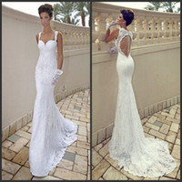 Wholesale Dimitrius Dalia Sweetheart Backless Bridal Gown Keyhole Beading Summer Garden Beach Sexy Lace Mermaid Wedding Dresses Free Gift Gloves