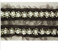 beaded yard decoration - 2 Yard Black Beautiful Lace and Pearl Beaded Trim Ribbon For Sewing Wedding Decoration