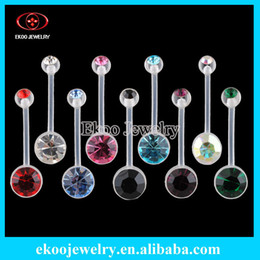 Wholesale Body Jewelry Bio Flexible Banana Double Gem Pregnancy Belly Ring Gauge of