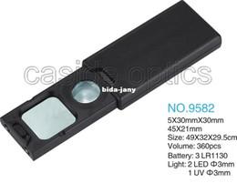 Wholesale 5X X mini pocket Magnifier with LED light UV for money detecting jewllery identifying