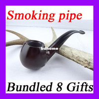 Cheap Mahogany pipe Rosewood smoking pipe glossy solid wood briar ebony wood cigarette holder 8 in one