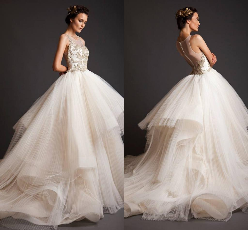 Discount Krikor Jabotian White Wedding Dresses 2014 Ball