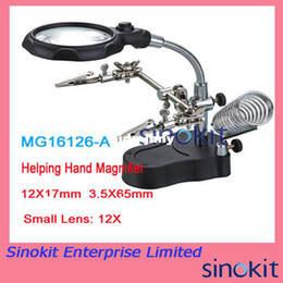 Wholesale New X X Helping Hand Magnifier with LED Lights Soldering Stand MG16126 A