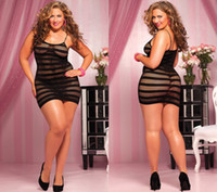 Wholesale Sexy Plus Size Black Transperant Lace Back Babydoll Dress Lingerie Lace Gown Sleepwears Ladies Underwear Costume lace pajamas