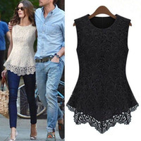 Crew Neck laces - 2015 new fashion sleeveless lace chiffon women blouse