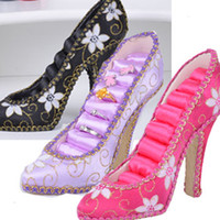 Wholesale 2014 new Embroidered High Heel Shoe Rack Rings Stud Holder Organizer Resin Crafts charms Gift cheap ewelry Display Stand